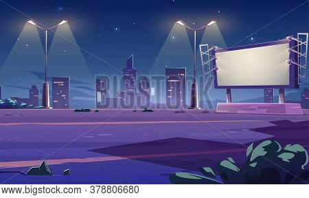 Blank Large Billboard On Street In Town At Night. Vector Cartoon Cityscape With Empty Road, Street L