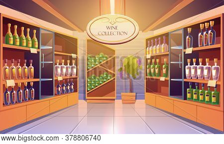 Wine Shop, Cellar Interior With Alcohol Beverages Collection, Bottles On Wooden Shelves. Store In Bu