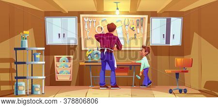 Carpenter And His Son Do Craft Or Repair On Workbench In Garage. Vector Cartoon Illustration Of Work