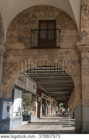 Salamanca, Spain, July 2020 - Shopping Arcade In Plaza Mayor In The City Of Salamanca, Spain