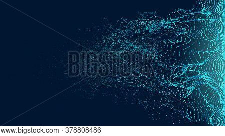 Particles Transition Wave Vector Background. Dissolve Fade Movement