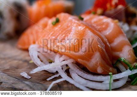 Japanese Food, Sashimi Made From Raw Salmon Fish Close Up