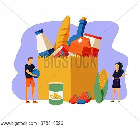 Food Drive Vector Illustration. Flat Tiny Grocery Charity Persons Concept. Canned Lunch Donation To