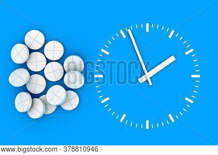 Clock Pills. Pill Tablet Clock. Pill Time. 3D. 3D Rendering