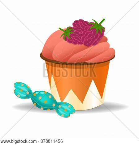 Cupcake With Raspberries And Candy Isolated On A White Background. Illustration In Cartoon Style. Cu