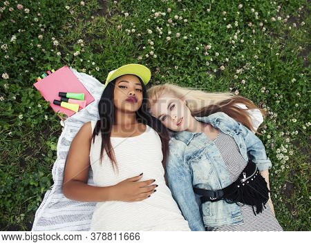 Two Young Pretty Teenager Girls Best Friends Laying On Grass Making Selfie Photo Having Fun, Lifesty