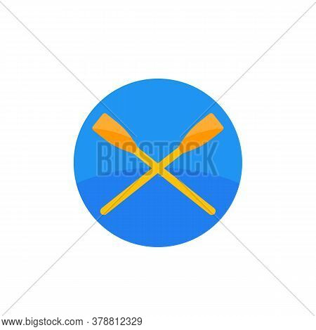 Oars, Crossed Paddles Vector Flat Icon, Eps 10 File, Easy To Edit