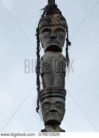 Close Up Of Traditional Batak Carved Figures, Sumatra ,indonesia.