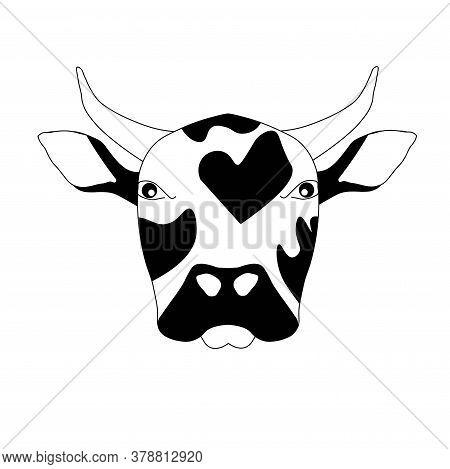 Bull Head Monochrome Sketch. Art Design Element Hand Drawn Ink Graphic Art Design Stock Vector Illus