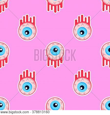 Creepy Bloody Zombie Eyes Halloween Seamless Pattern. Repeatable Background With Monster Eyeballs. G