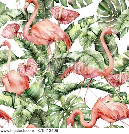 Watercolor Seamless Pattern With Pink Flamingos, Anthurium And Leaves. Hand Painted Tropical Birds A
