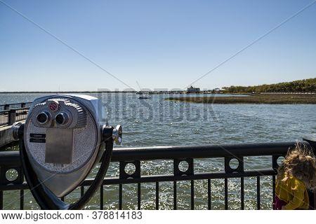 Fishing Pier At The Waterfront Park, In Charleston, South Carolina.