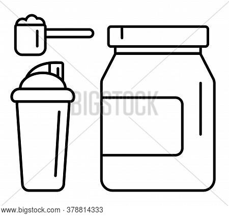 Sport Nutrition Supplement Drink Vector Linear Icons Set. Whey Protein Package, Scoop And Shaker Ill