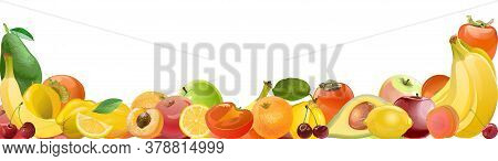 Fruit. Vector. A Lot Of Different Fruits, A Big Harvest. Picture For Background And Banner Framing.
