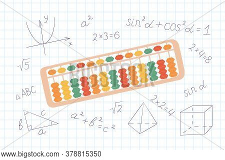 Abacus Soroban For Learning Mental Arithmetic For Kids. Concept Of Illustration Of The Japanese Syst
