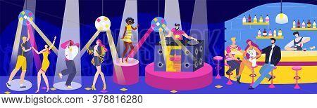 People In Dj Night Club Bar Vector Illustration. Cartoon Flat Adult Man Woman Friend Characters Meet