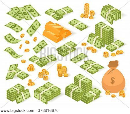 Isometric Money Vector Illustration Set. Cartoon Collection Of Paper Dollar Banknotes, Coin Bag, Gol