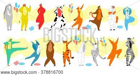 People In Animal Costume Vector Illustration Set. Cartoon Flat Group Of Adult Characters Wearing Cut