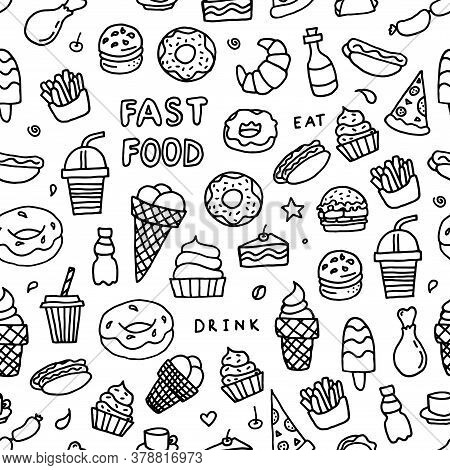Black And White Doodle Fast Food. Background About Drinks And Fast Food