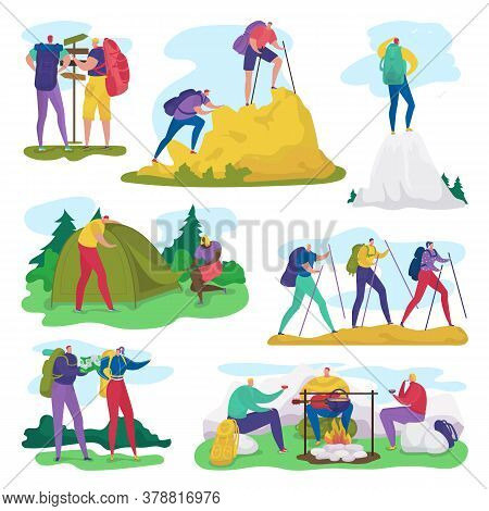 People Camping, Hiking In Summer Adventure Activity Vector Illustration Set. Cartoon Flat Active Cam
