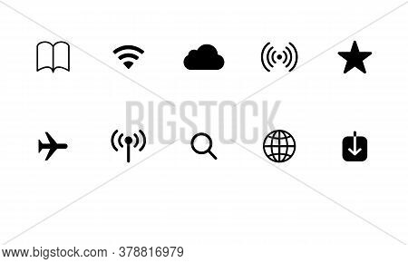 Icon Black And White Vector Set Internet,  Icon Internet Isolated On White Background