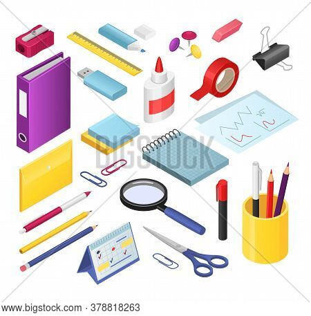 Isometric Stationery Vector Illustration Set. Cartoon 3d Office Or School Stationery Tools Supplies,