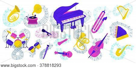 Musical Instrument Vector Illustration Set. Cartoon Flat Colorful Collection Acoustic Icons For Musi