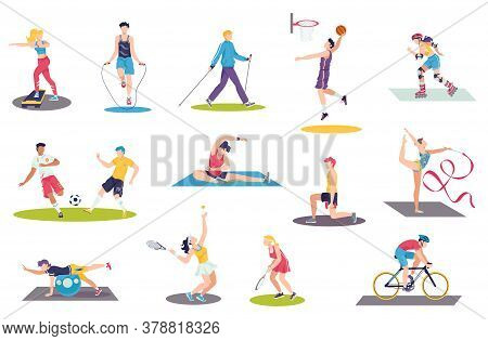 People Doing Sport Exercises Vector Illustration Set. Cartoon Flat Man Woman Sportsman Characters Tr