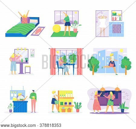 Woman Routine Vector Illustration Set. Cartoon Flat Female Character In Daily Routine Having Morning