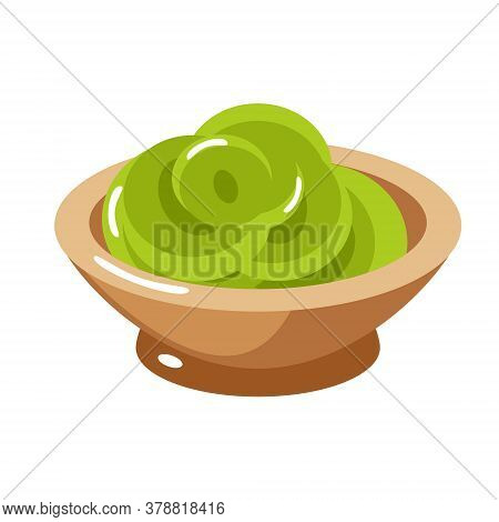 Wasabi In A Plate. Isolated On White Background. Vector Flat Color Illustration. For Web And Menu