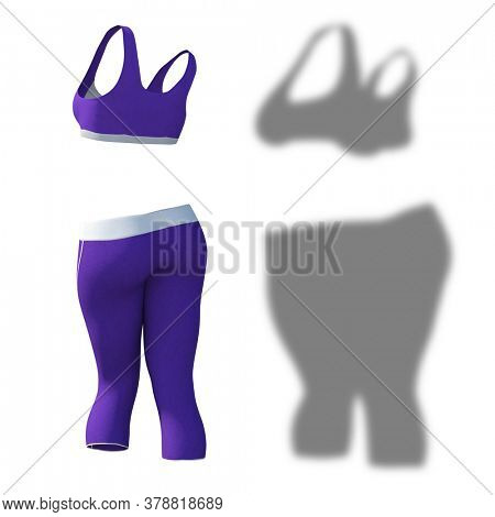 Conceptual fat overweight obese shadow female pants and bra vs slim fit healthy body after weight loss or diet thin young woman isolated. A fitness, nutrition or obesity health shape 3D illustration
