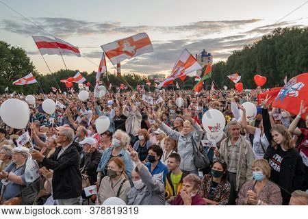 Minsk, Belarus - July 30, 2020: Supporters of presidential candidate Svetlana Tikhanovskaya at her campaign rally in Minsk on July 30, 2020