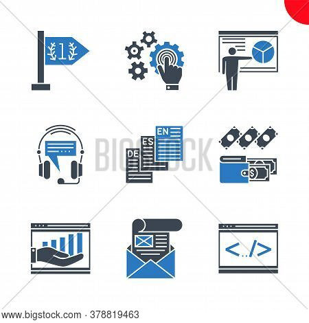 Seo Related Vector Glyph Icons Set. Isolated On White Background. Coding, Mailing, Income, Expenses,