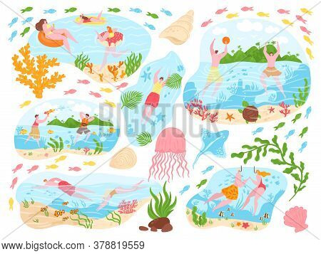 People Swim, Summer Activity Vector Illustration Set. Cartoon Flat Active Happy Man Woman Characters