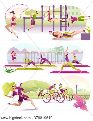 Outdoor Sport, Summer Physical Activity For Sportive People Engaged In Running, Cycling, Yoga And Fi