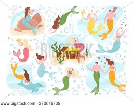 Mermaids Of Sea Fairy Underwater Set On Marine Theme With Mythological Ocean Creatures. Mermaid With