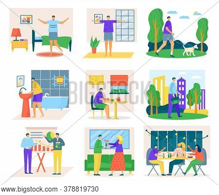 Man Daily Routine Icons Set Of Isolated Vector Illustrations. Day Work And Rest Life Schedule, Every