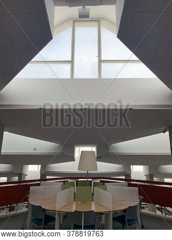 Beer Sheva, Israel - April   16, 2019: Interior Of The Library Of The Ben-gurion University In The N