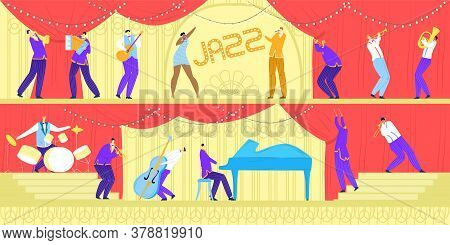 Jazz Music Band Concert, Musicians With Musical Instruments And Singer, Performance Or Festival Hori