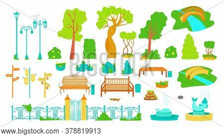 Park Outdoor Elements, Trees, Benches, Lamppost And Fontains, Bush And Signboards Icons Set Of Flat