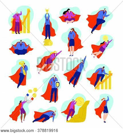Business Hero Characters Set Of Superhero Businessman In Power And Strength Concept, Be Strong, Winn