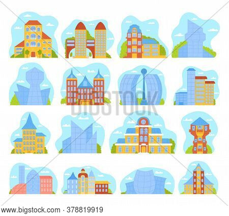 Modern City Buildings Set Of Isolated Vector Illustrations With Architecture Of Skyscrappers. Urban