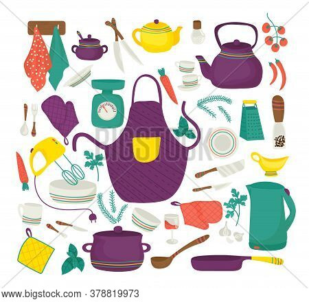 Kitchen Utensils For Cooking, Kitchenware Set, Collection Of Icons Symbolizing Kitchen Equipment, Fo