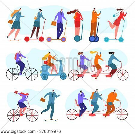 Team Work, Business People Ride Bicycles Set Of Isolated Vector Illustrations. Bicycle Tandem Riding
