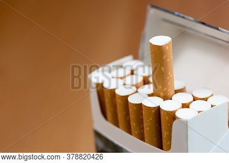 Cigarettes Close Up In Pack With Copy Space