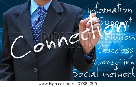 businessman hand writing connection