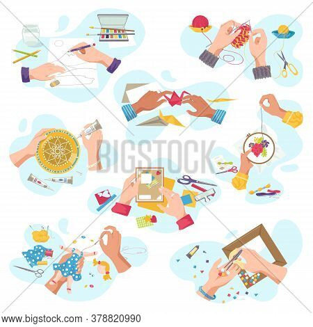 Art Craft Workshop For Creative Hobby, Top View Craftsman Hands Creat Artistic Handycrafts, Isolated