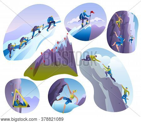 Mountain Climbing People Vector Illustrations Isolated On White Set. Climber Climbs Rock Wall Or Mou