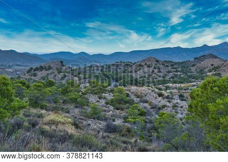 Landscape Of A Park With A Blue Sky And Many Clouds