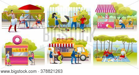 People Eating Outdoor Set Of Vector Illustrations. Street Food Eaters Festival, People Eat At Vans O